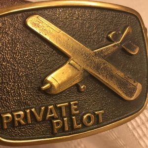 BTS solid brass PRIVATE PILOT buckle w/belt